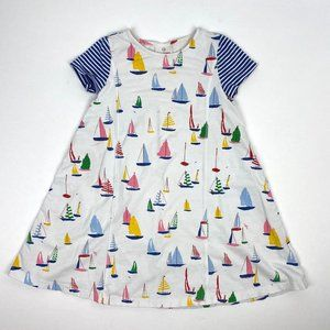 Hanna Andersson White Blue Casual Sailboat Dress 8